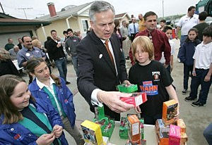Some Politician buying Girl Scout Cookies