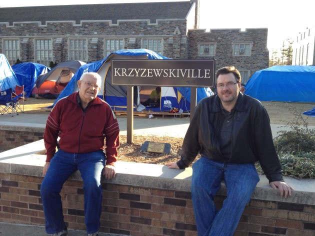 Todd Harding and His Dad in Krzyzewskiville