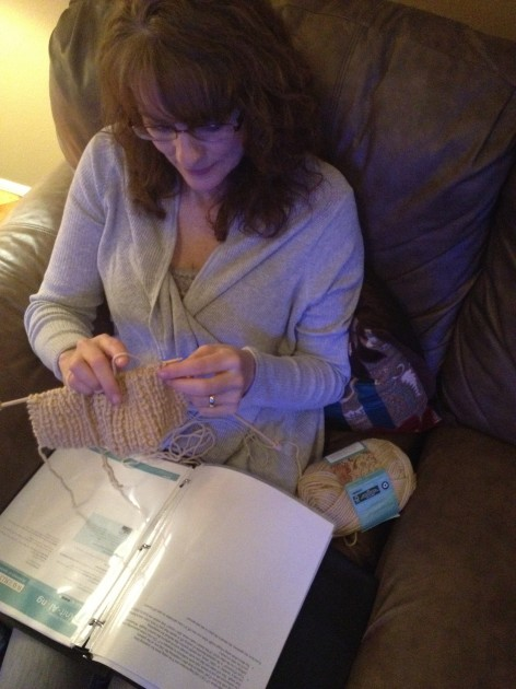 Todd's wife Jenny knitting project at NASCAR race