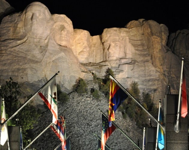 Nighttime Shot of Mount Rushmore