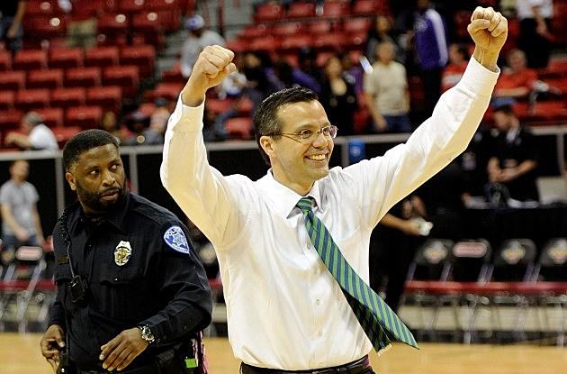 Head coach Tim Miles of the Colorado State Rams celebrates