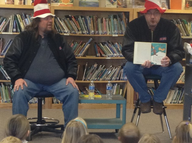 Brian and Todd reading Dr. Suess at Livermore Elementary
