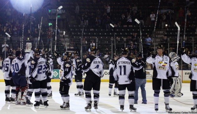 Colorado Eagles Players Salute the Fans at Bud Center