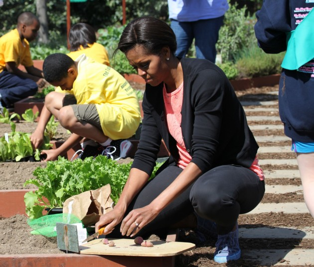 First Lady Michelle Obama planting CSU potatoes