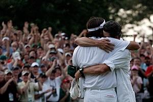 Bubba Watson hugs caddie after winning Masters