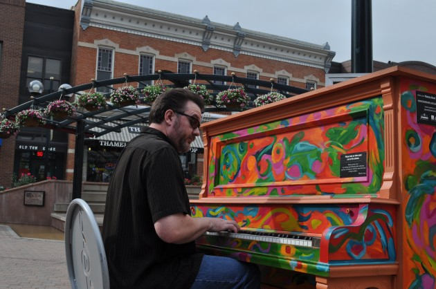 "Man Plays ""Pianos About Town"" Piano in Old Town, Ft Collins"