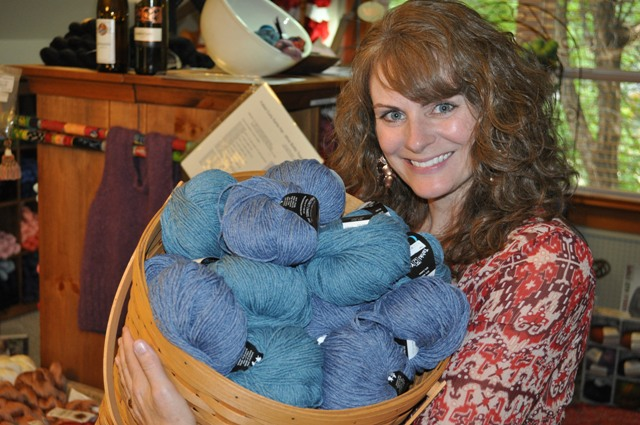 Jenny Holds Basket of Yarn in My Sister Knits