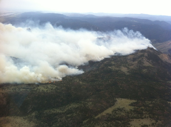 Helicopter view of Hewlett Fire