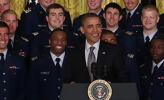 President Obama presenting Air Force football Team Commander-in-Chief Trophy
