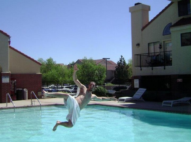 Man jumps in Pool at Rams Village