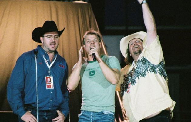 Brian & Todd singing with Phil Vassar at the Greeley Stampede