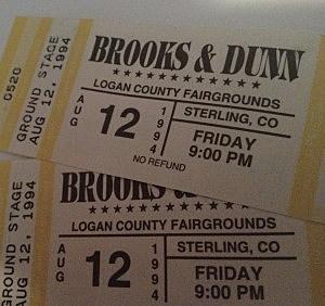 Brooks & Dunn tickets Logan County Fair August 12th, 1994