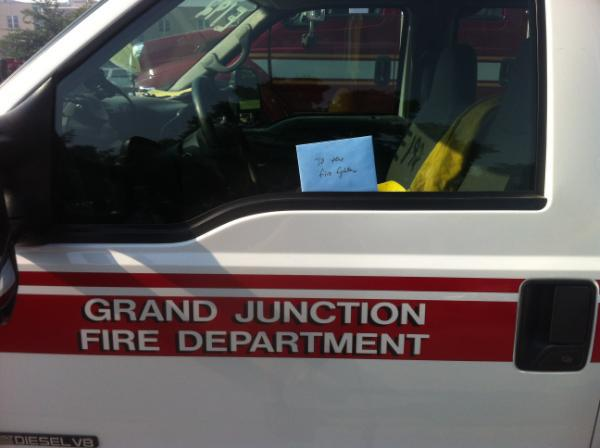 Thank you notes on firetruck at High Park Fire