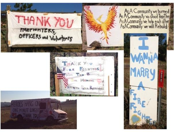 Signs to say Thank You to the firefighters