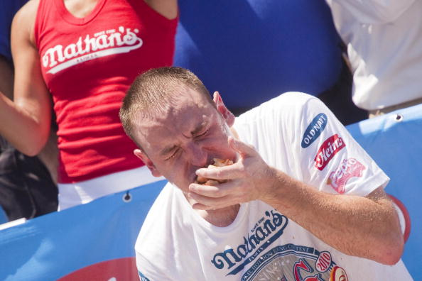 Joey Chestnut In Nathan's Annual Hot Dog Eating Contest