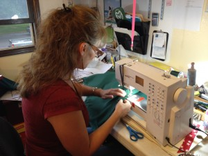 Jenny Harding sewing jacket for CSU Mascot Cam The Ram