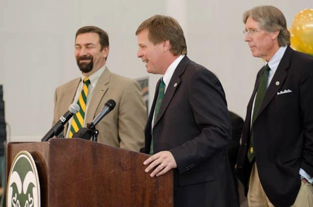 CSU President Tony Frank, Rams Football Coach Jim McElwain, and CSU Athletics Dir