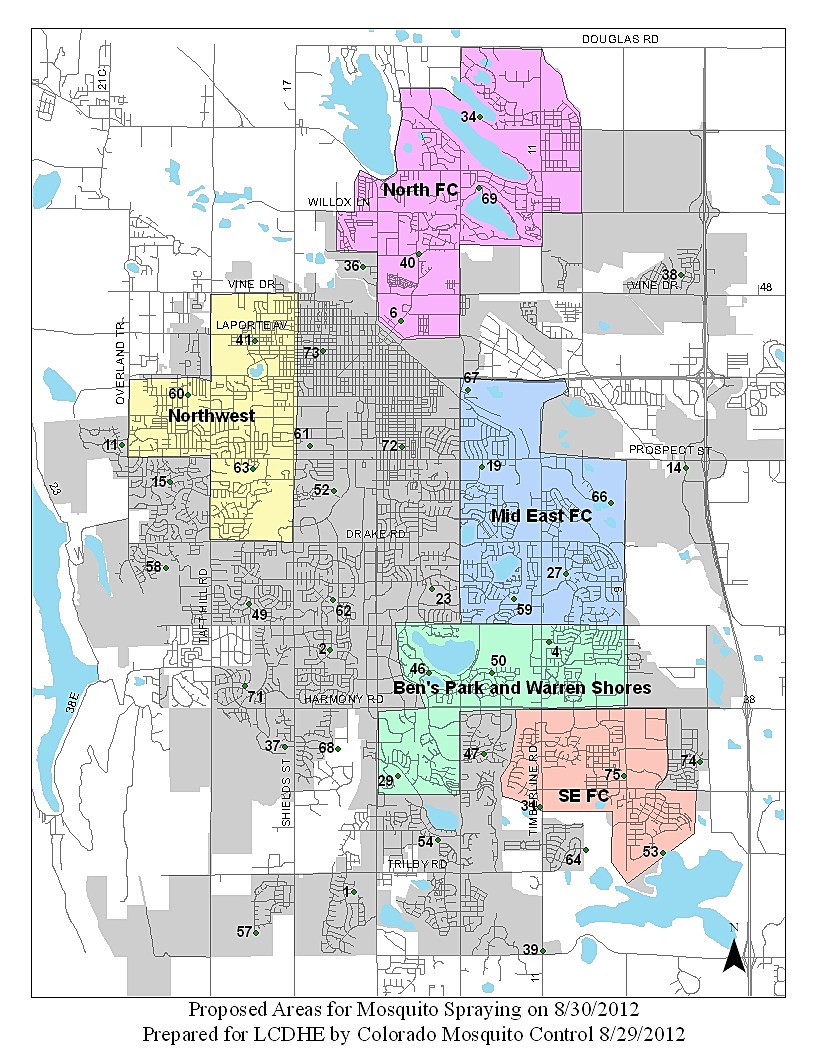 Fort  Collins  Mosquito Spraying Map