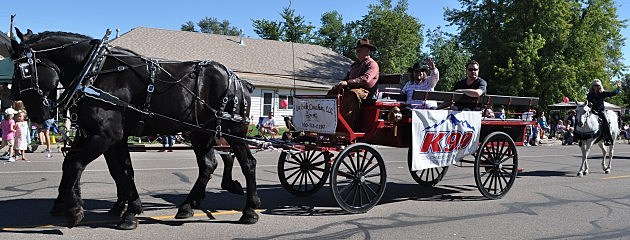 Brian & Todd Riding Kiowa Creek Coaches hitch in Windsor Harvest Festival Parade