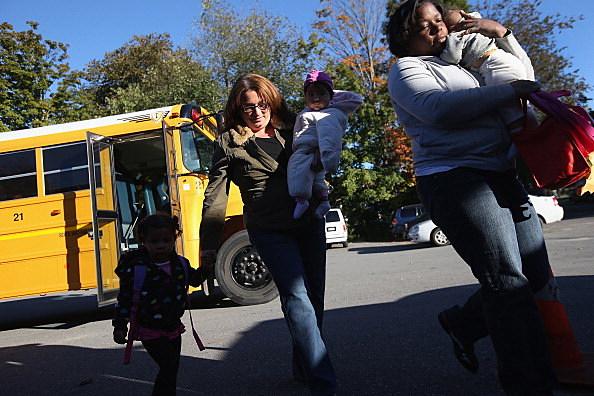 Kids get off School Bus