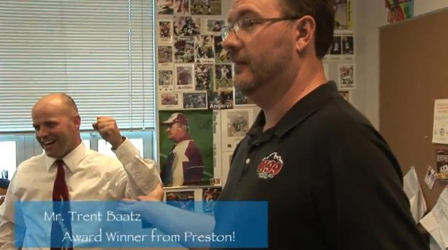 Todd Harding with Teacher Tuesday Winner Mr. Baatz  from Preston Middle School