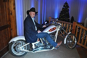 Ken Host on the custom made bike he donated to Hearts & Horses