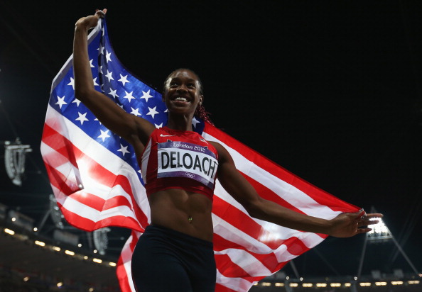 Janay Deloach celebrates winning the bronze in the Women's Long Jump  at the London 2012 Olympic Games