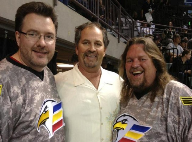 Eagles Owner Martin Lind with Brian and Todd in their Military Eagles Jerseys