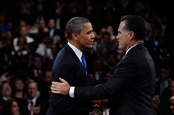 Obama And Romney shake hands before final debate