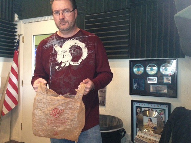 Todd Harding with Plastic King Soopers Bag