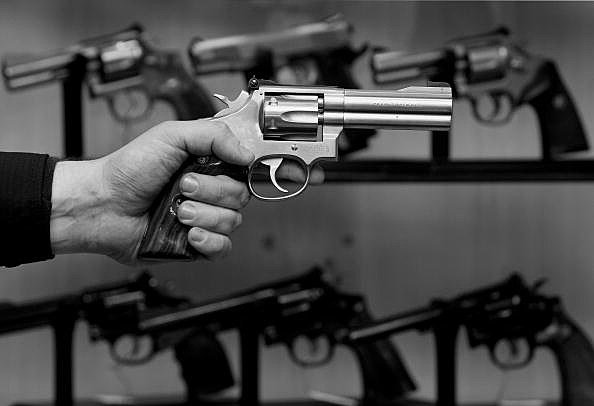 Smith & Wesson Magnum guns are seen in a gun store in Hamburg, Germany
