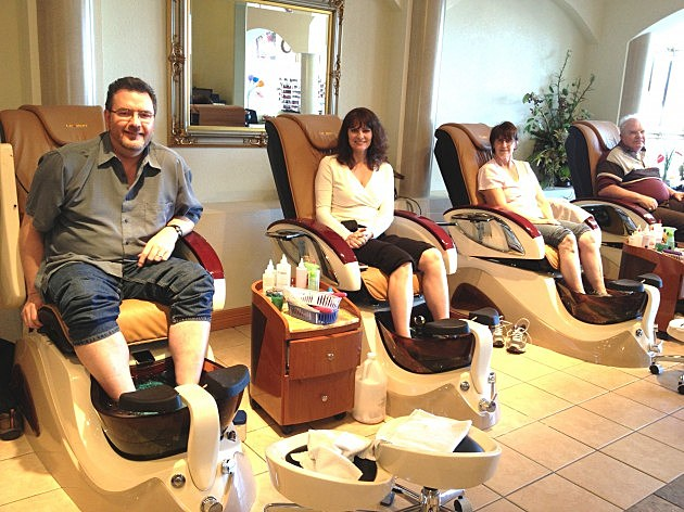 Todd, his wife Jenny, Mother-in-law Bev, and Father-in-law Byron getting pedicure