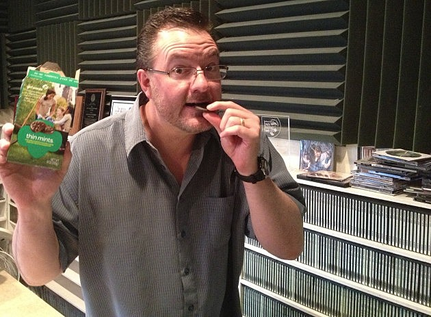 Todd Harding eating a Thin Mint