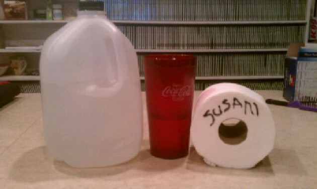 water and toilet paper