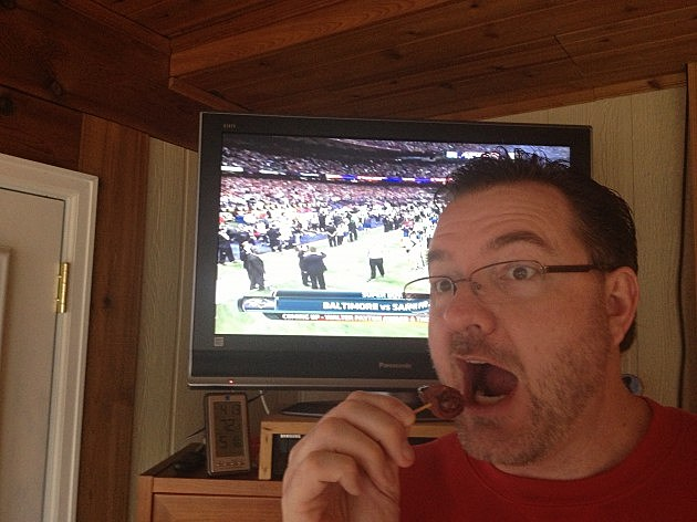 Todd eating Bacon Wrapped Dates during Superbowl