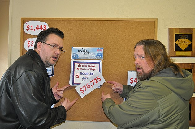 Brian & Todd check out the final tally for the 15th Annual 28 Hours of Hope