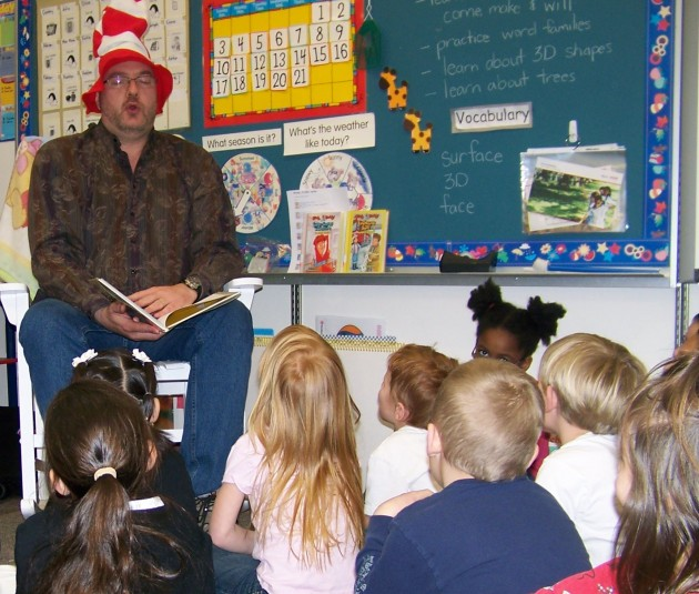 Todd reads for Miss Cromley's Kindergarten Class at Laurel Elementary