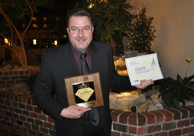 Todd holds awards at the 2013 Colorado Broadcaster's Awards