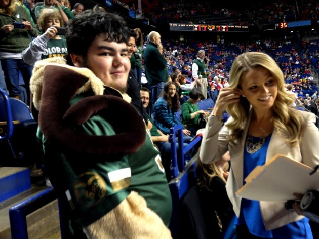 CSU Rams Ultimate Fan Justin Stank is interview by Allie LaForce from CBS Sports