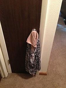 coat on door knob