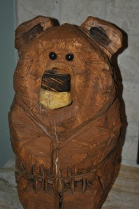 Carved Bear purchased by Todd & his wife Jenny at the United Way Auction