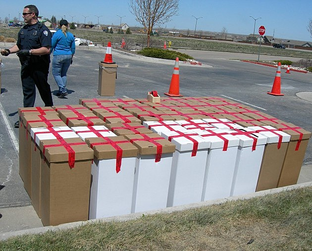 Boxes of drugs taken in by the Fort Collins Police on Drug Take back Day