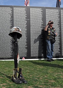 Fallen Soldier Battle Cross at Vietnam Memorial Traveling Wall