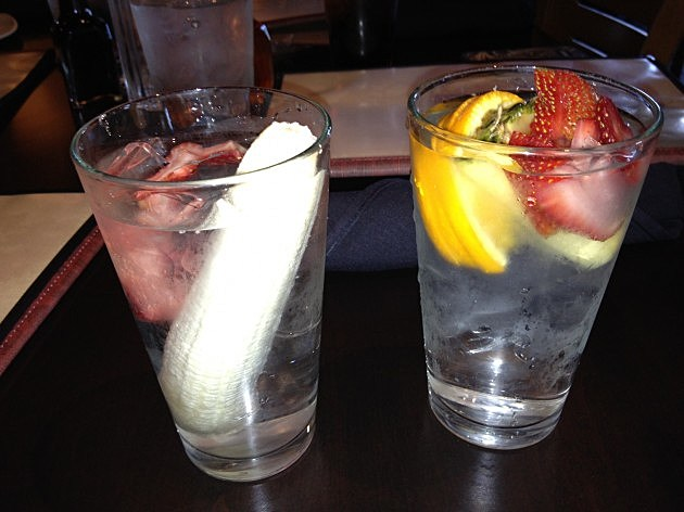 Glasses with Banana & Strawberry Water and Orange, Strawberry, and Pineapple Water