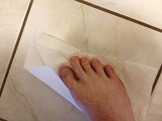 Todd's Foot on a paper towel