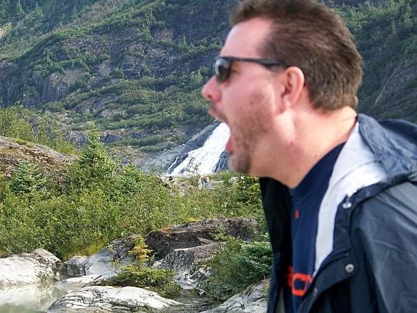 Todd in Front of Waterfall at Mendenhall Glacier near Juneau Alaska