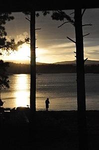 Boy Fishing at Dowdy Lake at Sunset