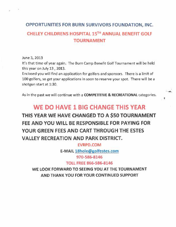 Children's Hospital Colorado Burn Camp Golf Tournament