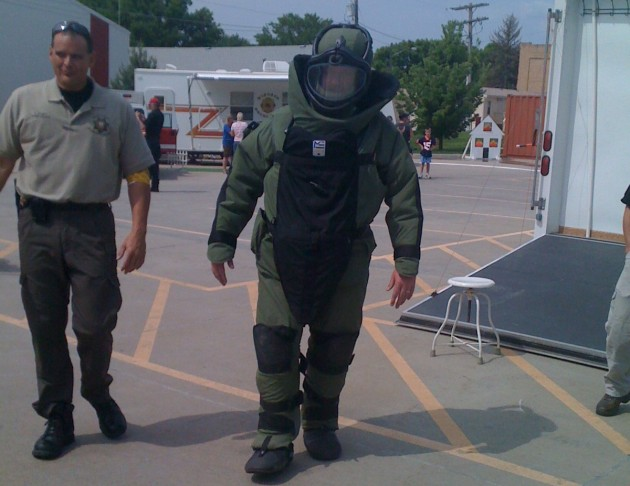 Todd in Bomb Suit at Windsor Severance Fire Open House