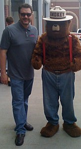 Todd with Smokey Bear at Windsor Severance Fire Open House